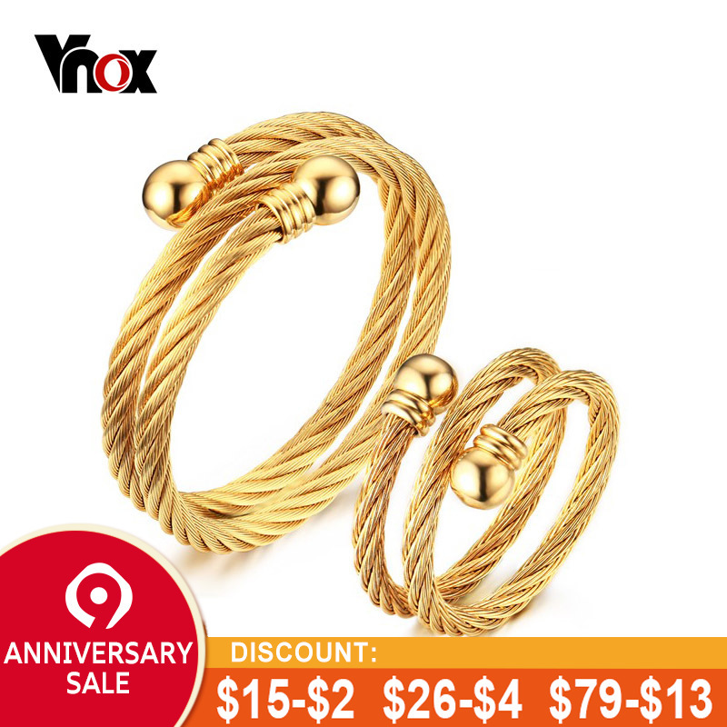 c0d62a1d6be Vnox Unique Adjustable Jewelry Sets for Women Twisted Cable Cuff Bangle  Bracelet and Ring Set