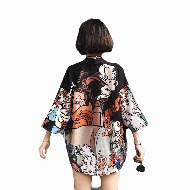 #5011 летнее японское стильное винтажное мужское женское кимоно блузка Длинный Harajuku уличная кардиган-кимоно рубашка Солнцезащитная Blusas повязка