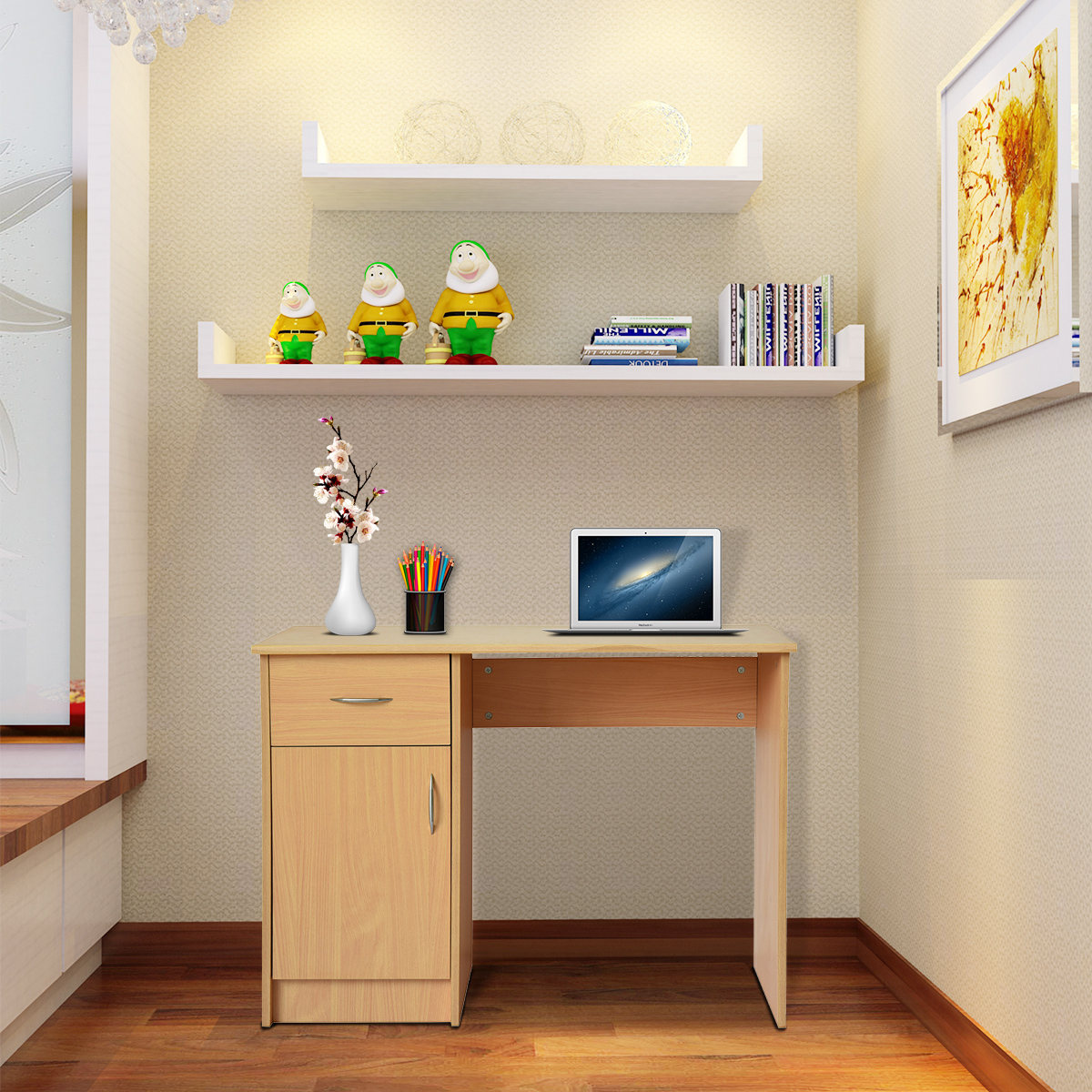 Panana Computer Desk With Cabinet w/1 Drawer for Home Office PC Writing TablePanana Computer Desk With Cabinet w/1 Drawer for Home Office PC Writing Table