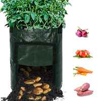 4-Pack 10 Gallon Durable Garden Potato Growing Bags, Aeration Pots with Portable Access Flap and Handles, Soil Container Plan