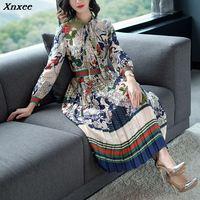 Slim High Waist Colorful Print Long Sleeve Chiffon Pleated Calf Length Dress Summer Spring New 2019 Women Elegant Style Xnxee