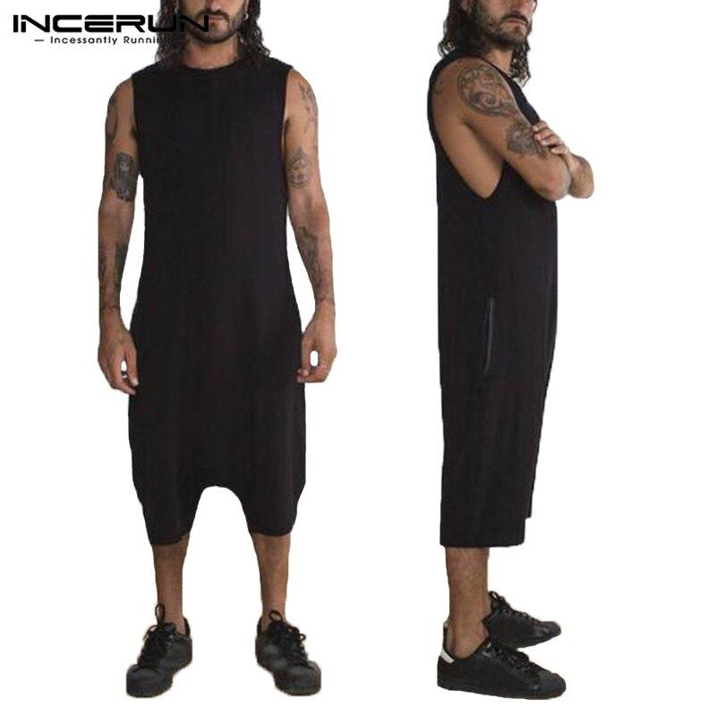 100% QualitäT 2019 Männer Strampler Ärmel Einfarbig Casual Frauen Overall Hosen Streetwear Playsuits Hiphop Männer Overalls Plus Größe Incerun