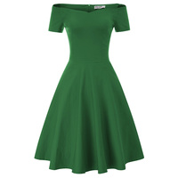 Womens Plain Vintage Style 50s Sleeveless Party Swing Dress Housewife Homecoming