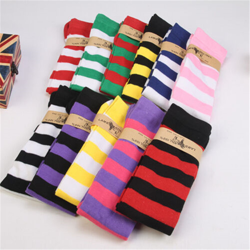 Women Girls Striped Thigh High Stocks Ladies Plus Size Over The Knee Socks Colorful Soft Sock