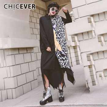 CHICEVER Spring Patchwork Leopard Women Shirt Square Collar Long Sleeve Mesh Hem Button Loose Slim Female Top Clothing New