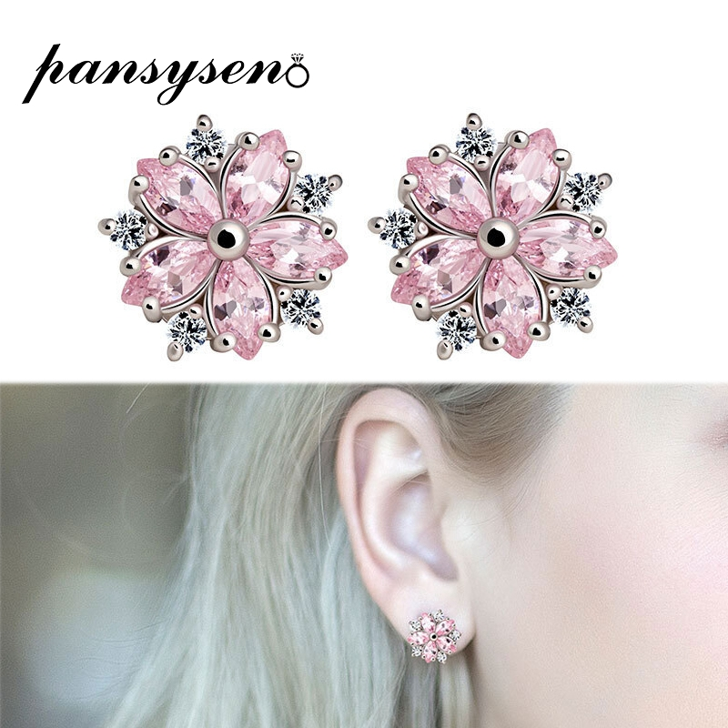 PANSYSEN 2019 New Design Snowflake Pink Quartz Women's Earrings 925 Silver Jewelry Stud Earrings Wholesale Engagement Jewellery(China)