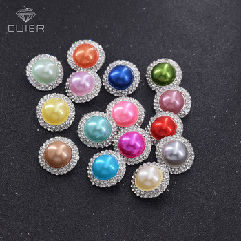 50pcs/lot 22mm zinc alloy clothings rhinestones round buttons pearl crystal plating metal button sew on decorations DIY shank