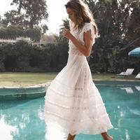 Лето Boho Chic взлетно посадочной полосы платье 2019 высокое качество белый черный горошек кружево вышивка хлопок макси Плиссированное длинное п