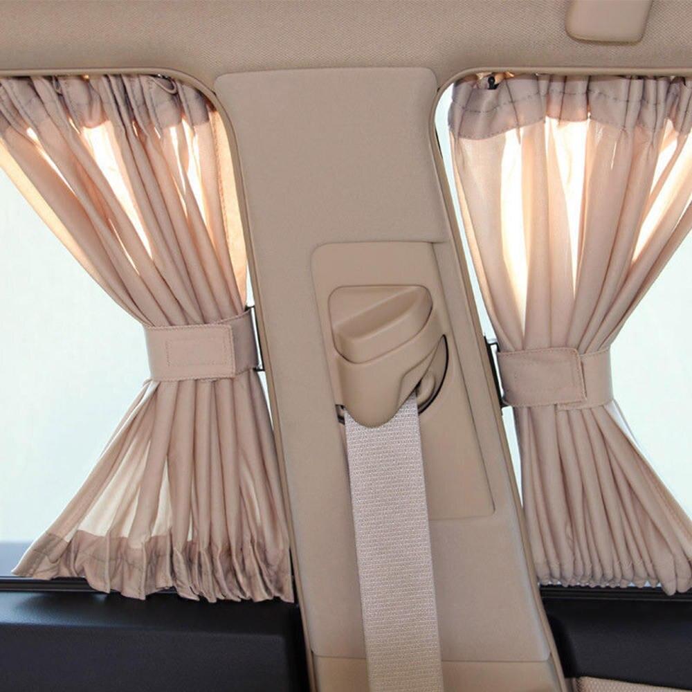 2Pcs Universal Luxury Beige VIP Car Van SUV Window Curtain UV Sunshade Visor Kit 70L Mesh Curtain Car Accessories Side Window Sunshades     - title=