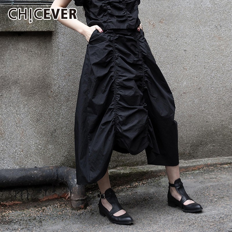 CHICEVER Summer Solid Balck Draped Women <font><b>Skirt</b></font> Elastic Waist Patchwork Pocket Loose Slim Female Irregular <font><b>Ball</b></font> Gown <font><b>Skirts</b></font> 2020 image