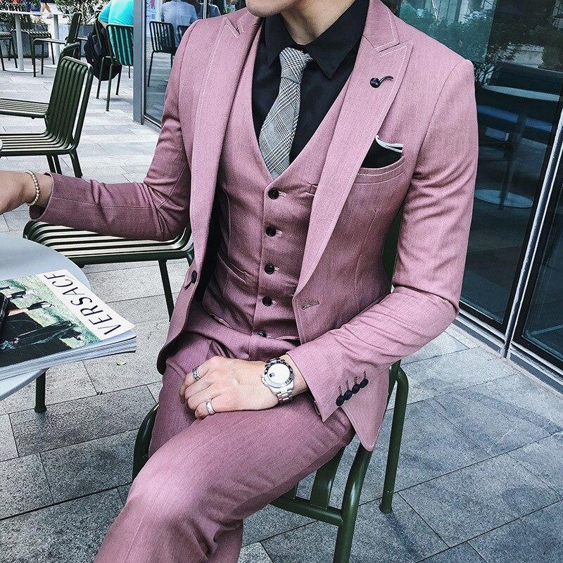 Luxury Men Wedding Suit Male Blazers Slim Fit Suits For Men Costume Business Formal Party Pink Classic Black(Jacket+Pant+Vest)