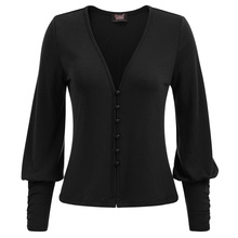 SD Women's Vintage Steampunk Gothic Long Sleeve Deep V-Neck Button Placket Tops