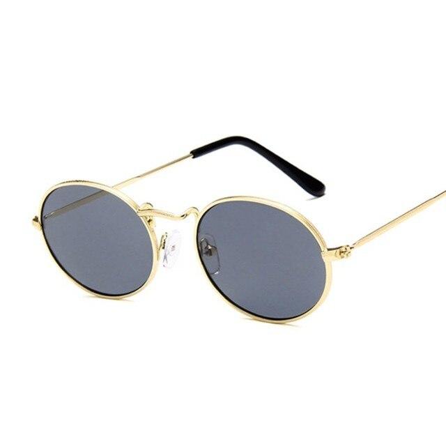 Fashion Women Sunglasses Famous Oval Sun Glasses Female Luxury Brand Metal Round Frames Yellow Small Cheap Eyewear Oculos