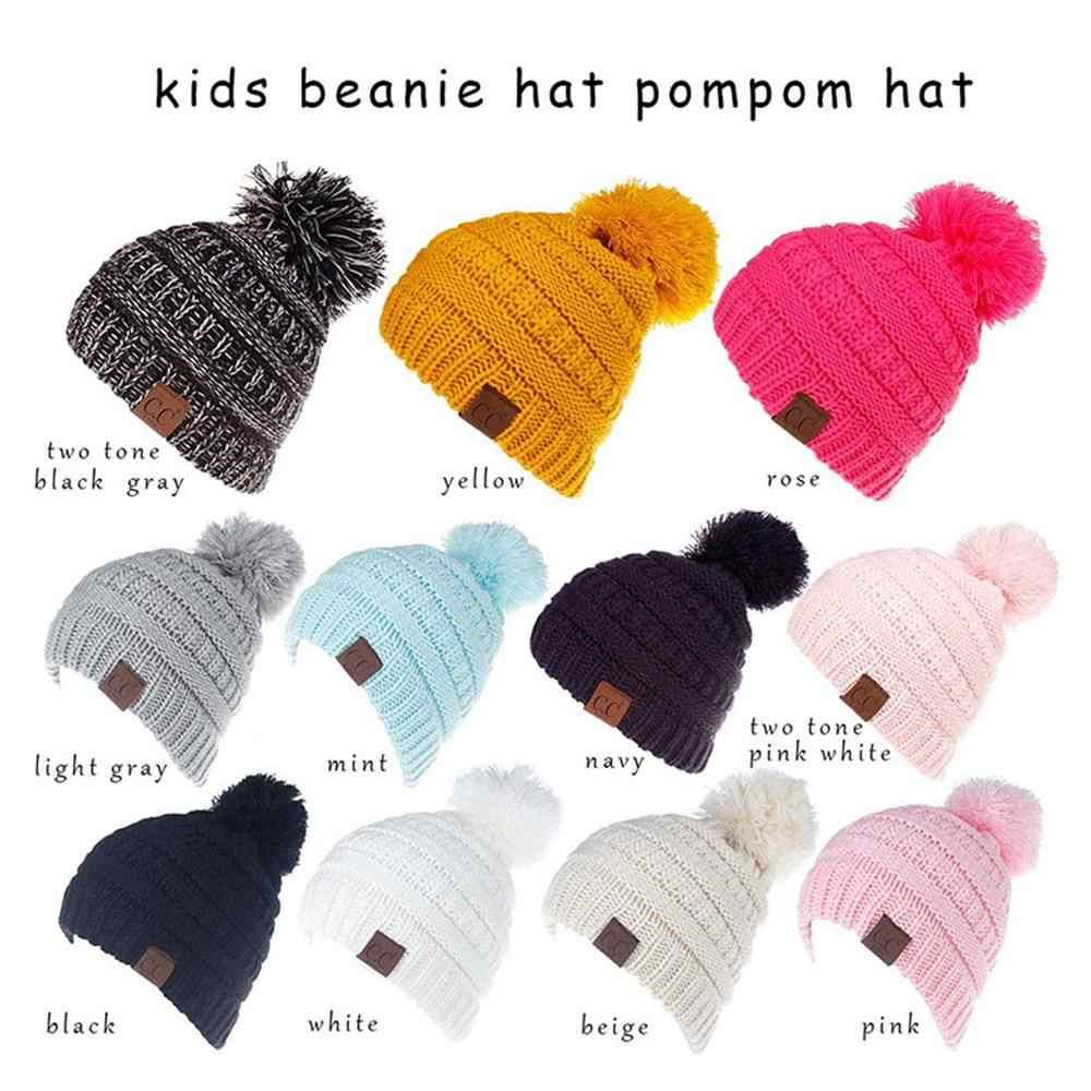4751434358c1e3 ... Fashion Kids Hat Skullies Beanies Pompom Children CC Hats Warm Winter  Toddler Cable Knit Girls Boy ...