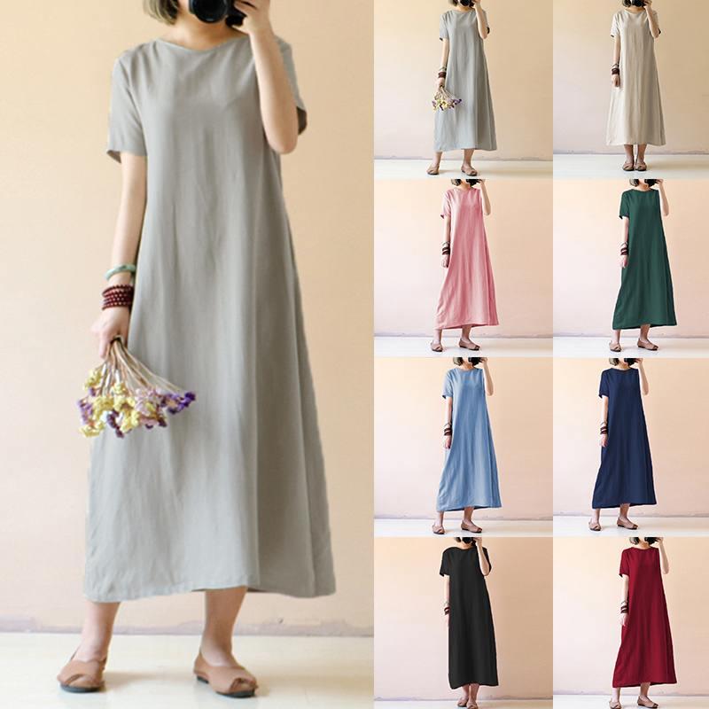 Plus Size 5XL Celmia Women Summer Maxi Long Dress 2019 Casual Short Sleeve Loose Vintage Linen Dresses  Beach Vestidos Femme