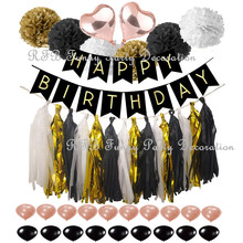 Black and Gold Kids Birthday Party Supplies Banner Rose Gold Balloons Paper PomPoms Wedding Baby Shower Event Party Decorations cheap MRG002 Cartoon animal Solid Color House Moving Retirement Earth Day THANKSGIVING St Patrick s Day April Fool s Day Chinese New Year