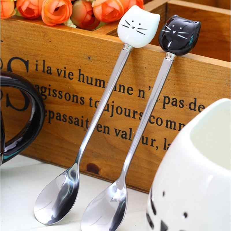 Stainless Steel Spoons with Black White Ceramic Cat Handle Stirring Spoon Ice Cream Sugar Tea Dessert Soup Coffee Spoon A10