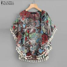 2019 ZANZEA Women Chiffon Cardigan Summer Ladies Floral Print Beach Cover Up Tops Bohemian Shirt Tassel Kimono Blouse S-5XL