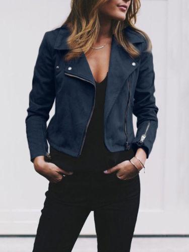 Jackets & Coats Fashion Womens Ladies Slim Fannel Jackets Elegant Zip Up Biker Casual Coats Flight Vintage Chaquetas Veste Femme Streetwear