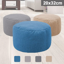 Small Round Beanbag Sofas Cover Waterproof Gaming Bed Chair Seat Bean Bag Solid Color Lounger Chair Sofa Cotton Linen Chair Cove(China)