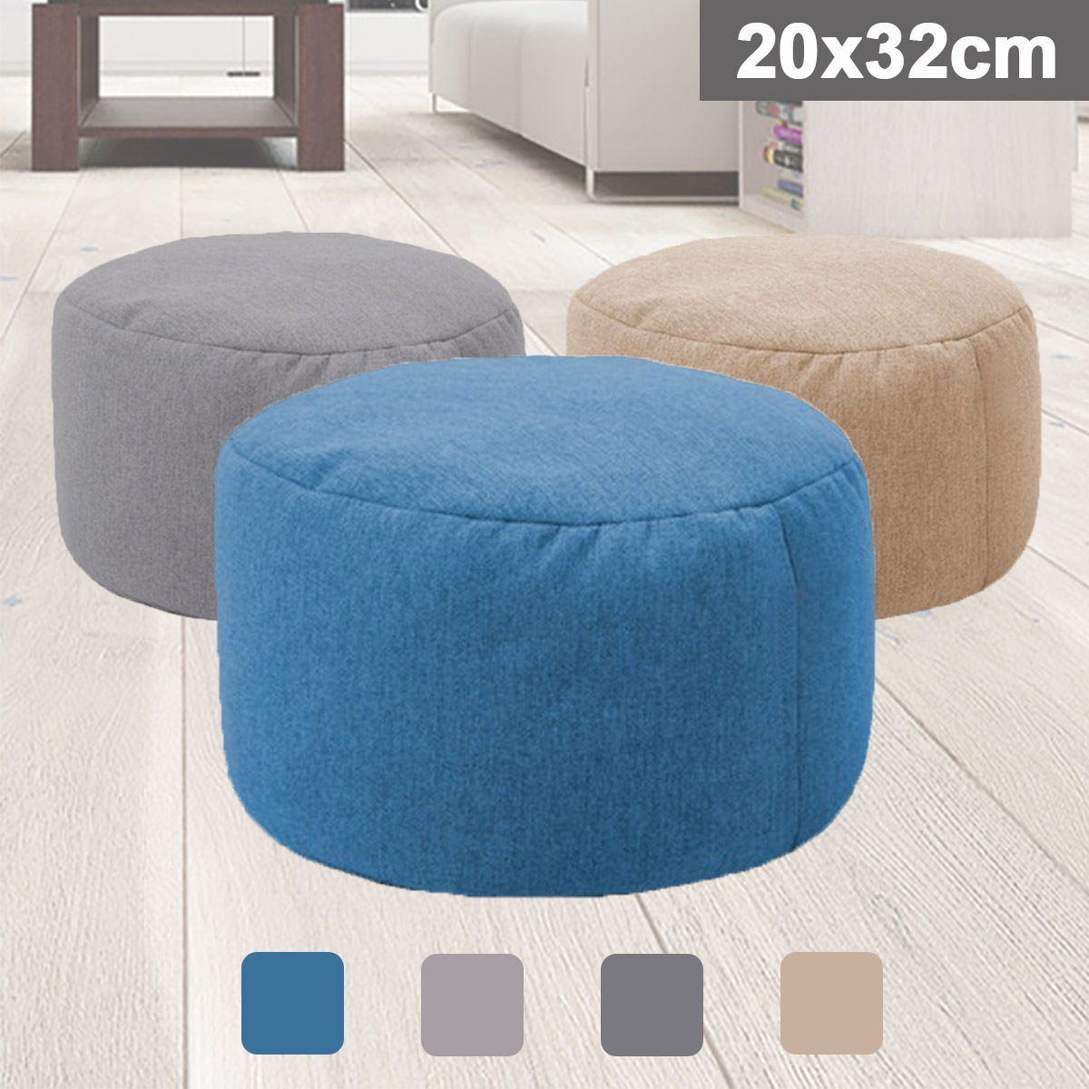 Small Round Beanbag Sofas Cover Waterproof Gaming Bed Chair Seat Bean Bag Solid Color Lounger Chair Sofa Cotton Linen Chair Cove image