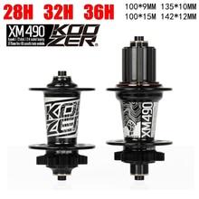 Koozer XM490 Hubs 4 Bearing MTB Mountain Bike Hub Rear 10*135mm QR100*15 12*142mm Thru 28/32/36 Holes Disc Brake Bicycle Hub