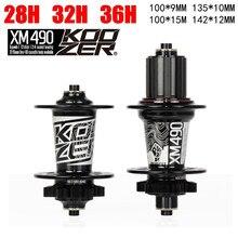 Koozer xm490 cubos 4 rolamento mtb mountain bike hub traseiro 10*135mm qr100 * 15 12*142mm até 28/32/36 furos cubo de freio a disco bicicleta