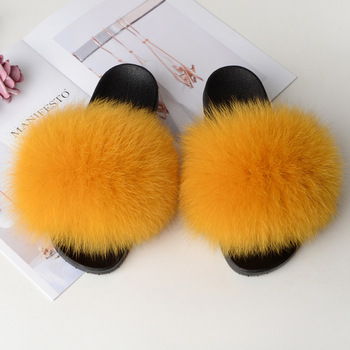 Home Slippers Women Fox Fur Slides Furry Female Indoor Slippers Furry Summer Shoes Woman Sandals Flat Brand Luxury Plus Size Eva 2