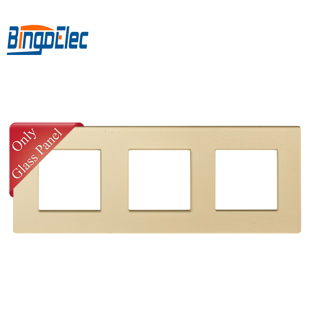 cheapest Bingoelec EU Three Color Toughened Glass Triple Frame For Switch And Socket Parts229 86mm