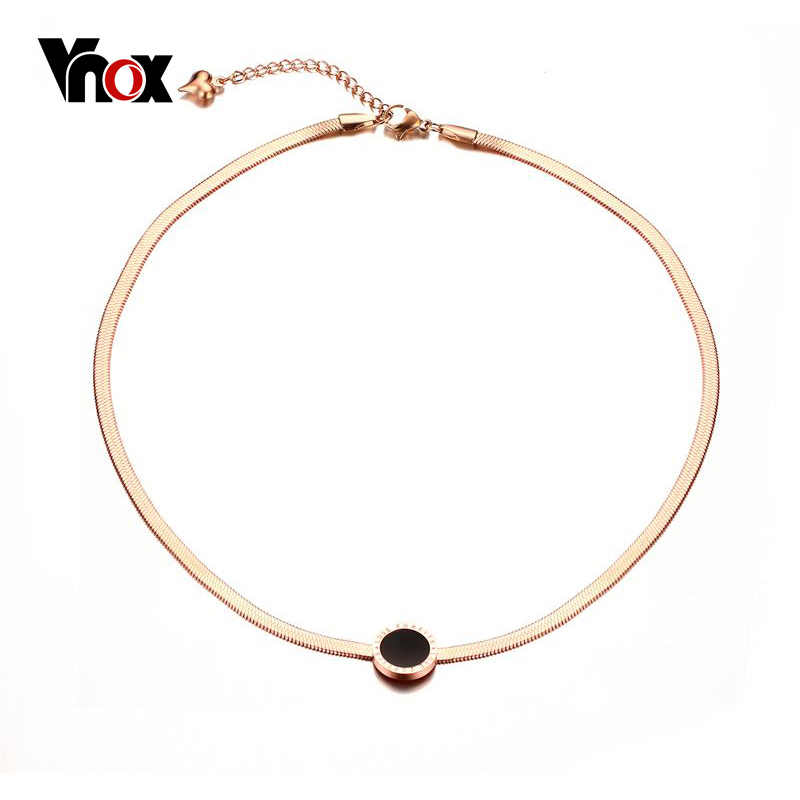Vnox Rose Gold-Color Choker Necklace for Women Jewelry Stainless Steel Snake Chain