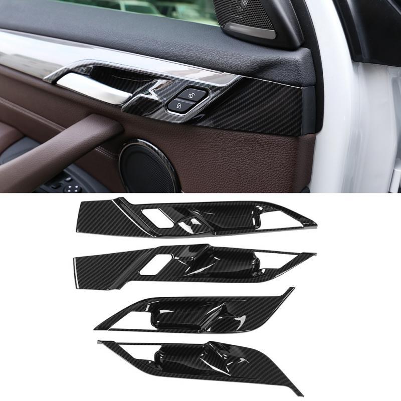 4pcs Left Hand Drive Carbon Fiber Style Car Auto Interior Door Bowl Cover Trim Frame For BMW X1 F48 2016 2017 2018 2019
