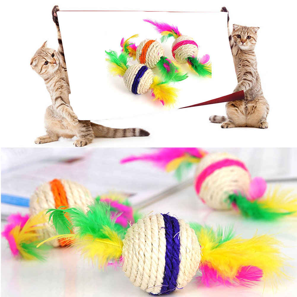 Colorful Ball Cat Toy Interactive Cat Toys Play Chewing Rattle Scratch Catch Pet Kitten Cat Exercise Toy Balls