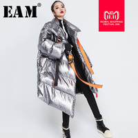 [EAM] 2018 New Autumn Winter Keep Warm Thick Full Sleeve Turtleneck Collar Irregular Women Fashion Tide Long Down Jacket OA887