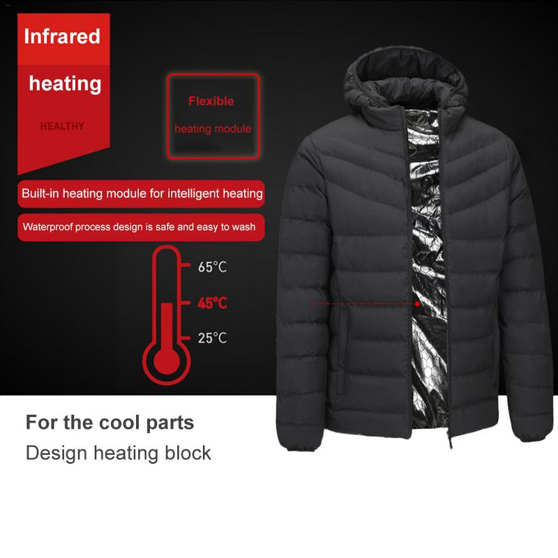 Outdoor Autumn Winter Clothing Men's Smart Electric USB Heating Coat Heating Cotton Clothing Warm Hooded Jacket Heated Cloth