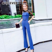 CHICEVRE Spring Women Two Piece Set Balck Hollow Lace Top Clothing With Sashes Zip Pockets Solid Jumpsuit 2019 Fashion New