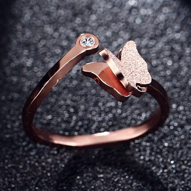 Vnox Cute Butterfly Charm Rings for Women Sand Blast 585 Rose Gold Color Stainless Steel anel alliance Gifts for Her