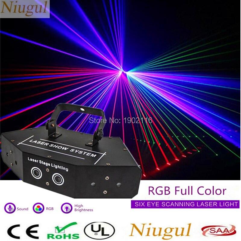 6 Lens RGB Scan Laser Laser Stage Lighting For DJ Disco Party KTV Nightclub And Dance