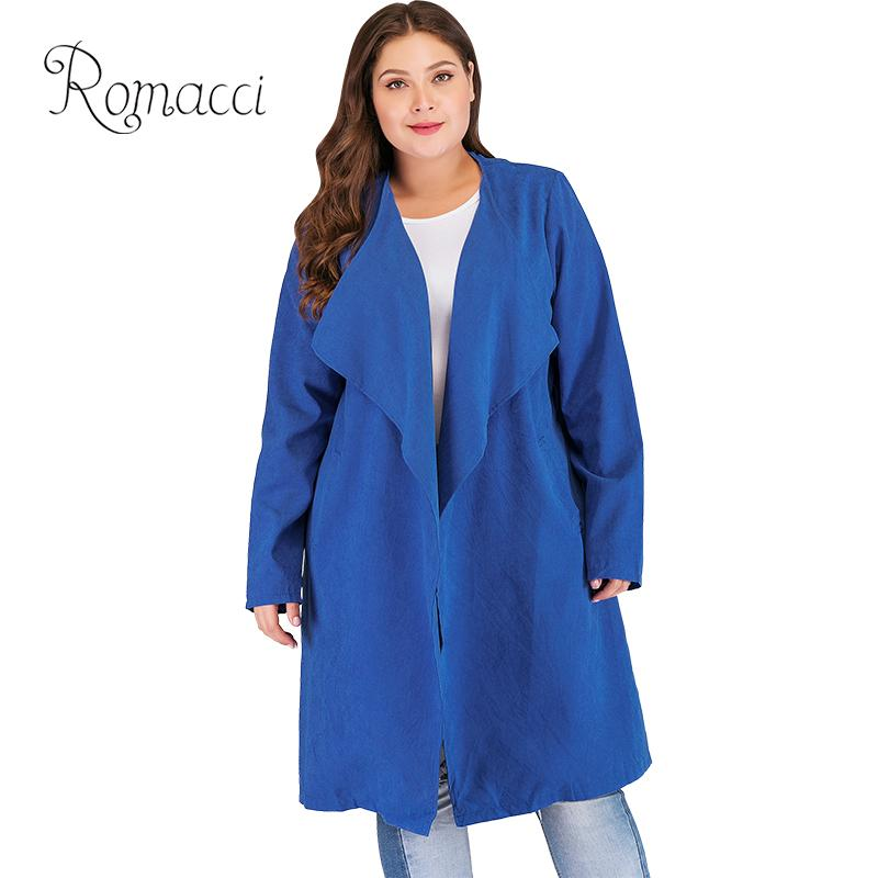 Romacci Fashion Women Plus Size   Trench   Coat Solid Turn-down Collar Cardigan Long Sleeve Belted Oversized Ladies Outerwear 2019