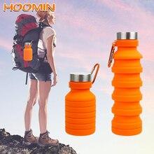 HOOMIN 550 мл Выдвижная складная бутылка для воды с крышкой и альпинистской пряжкой Крытая наружная дорожная складная бутылка