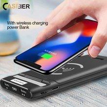 CASEIER 3 In 1 10000Mah Power bank Für iPhone Universal Dual USB Ports Wireless Power Bank Rotierenden Halter Für samsung Huawei