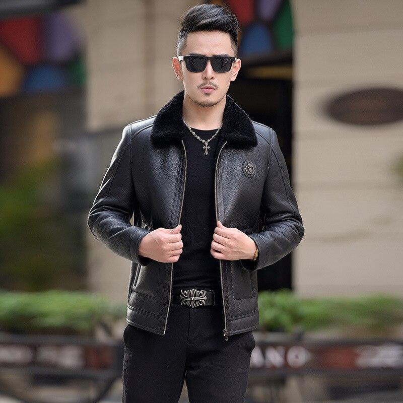 2018 кожа haining мех животных один зимняя куртка с лацканами развивать нравственность для мужчин краткое пункт шерсть мочевого пузыря молодых