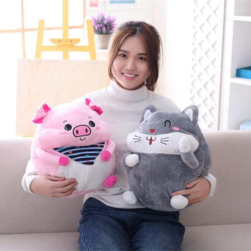 1 Pc 40 Cm Kawaii Plüsch Schwein Katze Gefüllte Kissen Spielzeug Decke 2 In Einem Dekorationen Mädchen Geschenke Weitere Rabatte üBerraschungen
