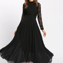 Women Floral Lace Chiffon Dresses Spring Long Sleeve Party Dress Patchwork Female Ruffled Maxi Dress raglan sleeve chiffon maxi dress