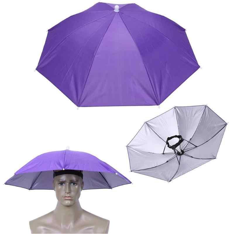 2f4fe09c8a6 Outdoor Foldable Sun Umbrella Hat Anti-Rain Elastic Band Head Umbrella Hat  Outdoor Fishing Sunscreen