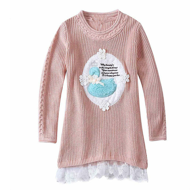 118109e89bf Children sweater girls Knitted Sweater Dress Pullovers Sweaters With Lace  Shrugs Dresses Crochet Long Girls sweater Kids