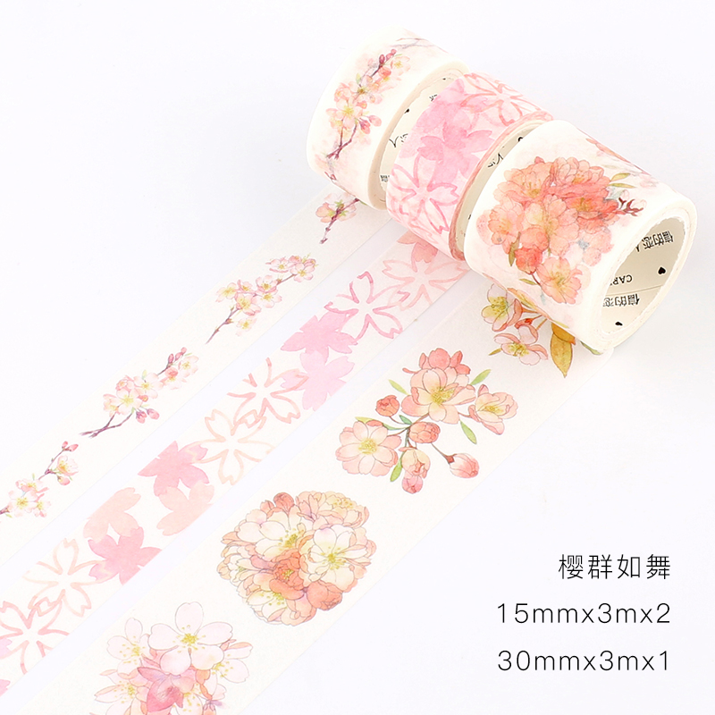 Mohamm 3pcs/lot Cherry Blossom Series 3 Diary DIY Decorative Journal Washi Tape Set Paper Masking Scrapbooking Stationery Bullet