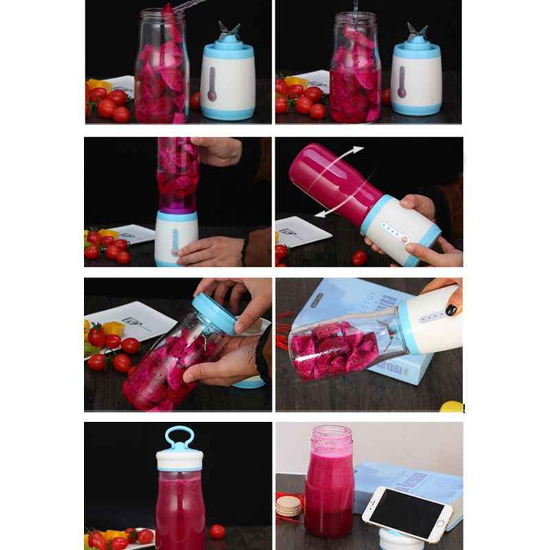Copo espremedor, Liquidificador o Suco Portátil, Tamanho Pessoal Elétrica Recarregável Mixer, 500 ml de Fruta Máquina de Mistura com Carregador USB Cabl