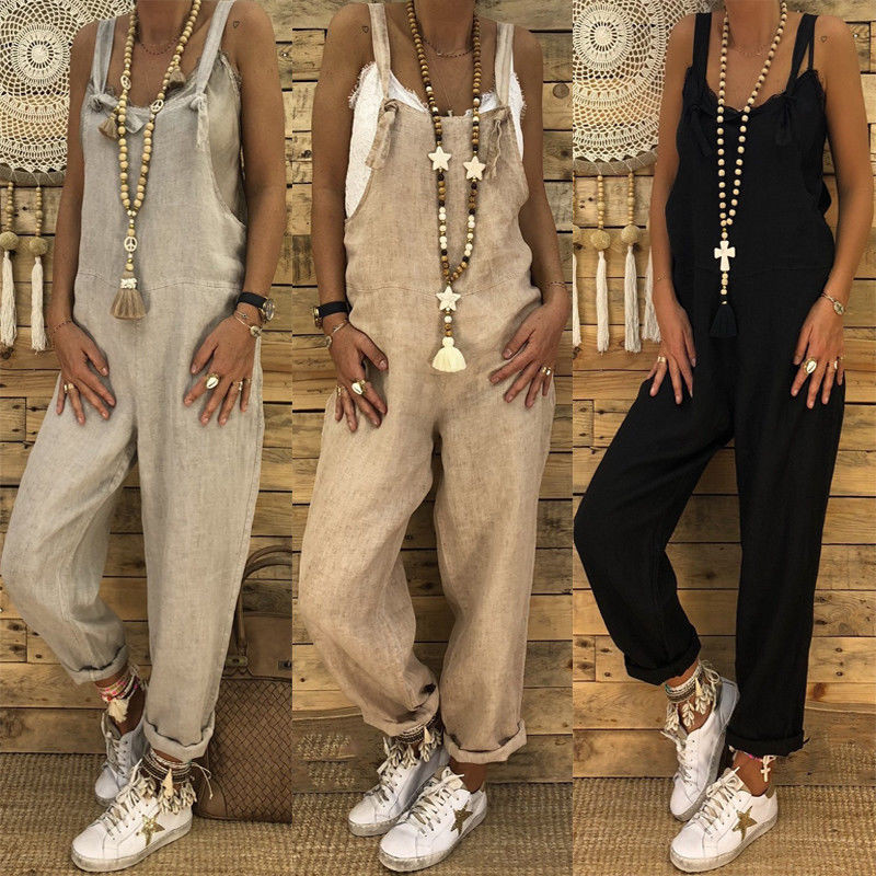 Women Clothing Jumpsuit Overalls Casual Linen Vintage Sling Female Retro Harem Pants Ladies Loose Pocket Strap Jumpsuit Trousers