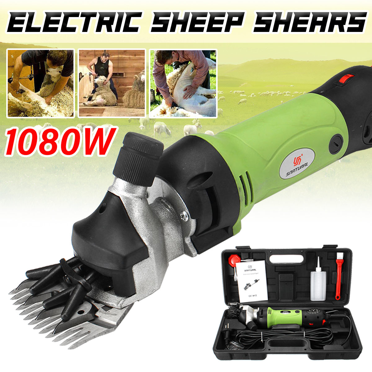 EU Plug Electric Shearing Clipper Shear Sheep Dog Pet Hair Clipper Adjustable 6Speeds Shearing Machine Farm Trimmer Scissor Tool image