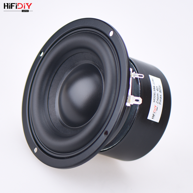 HIFIDIY AUDIO 4.5 Inch 80W Round Woofer Speaker High Power BASS Home Theater 2.1 Subwoofer Unit 2 Crossover Louspeakers SB4-116S
